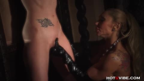 Hot MILF Dominatrix in Latex Punishes Slave