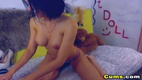 Huge Tits Camgirl Double Dildo Masturbation