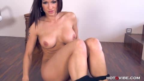 Horny Milf Stacy fucks on the floor