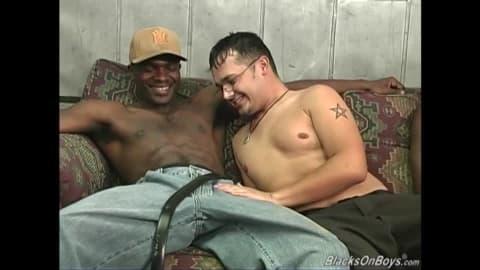 Hung black men sharing a horny white dude