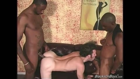 Horny white guy returns for more black cocks