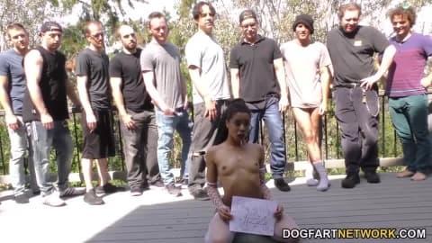 Kira Noir Gags And Chokes On White Dicks